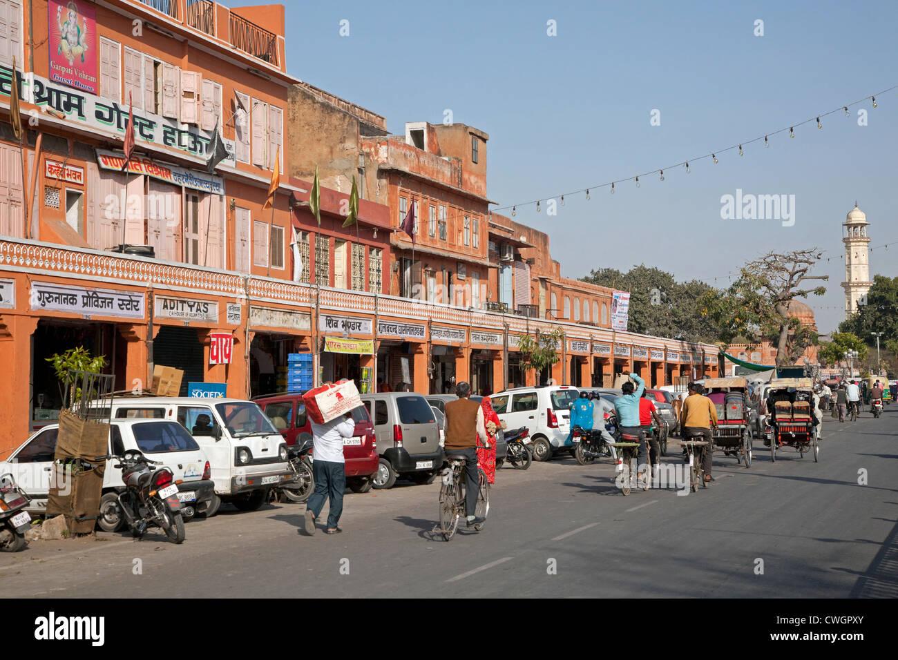 Scène de rue à la ville rose de Jaipur, Rajasthan, Inde Photo Stock
