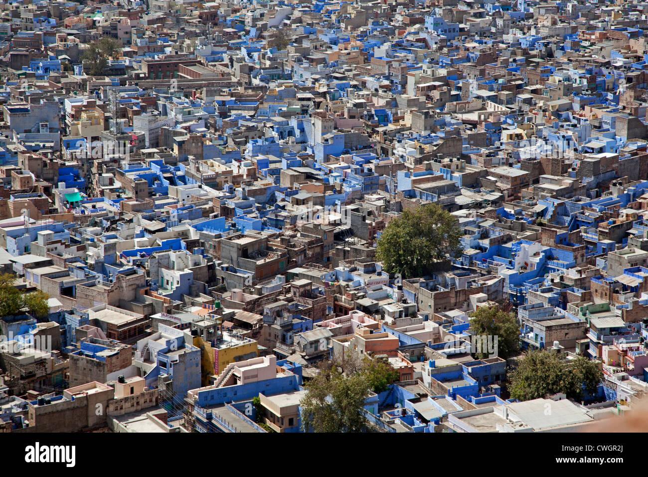 Voir plus de maisons dans la ville bleue de Jodhpur, Rajasthan, India Photo Stock