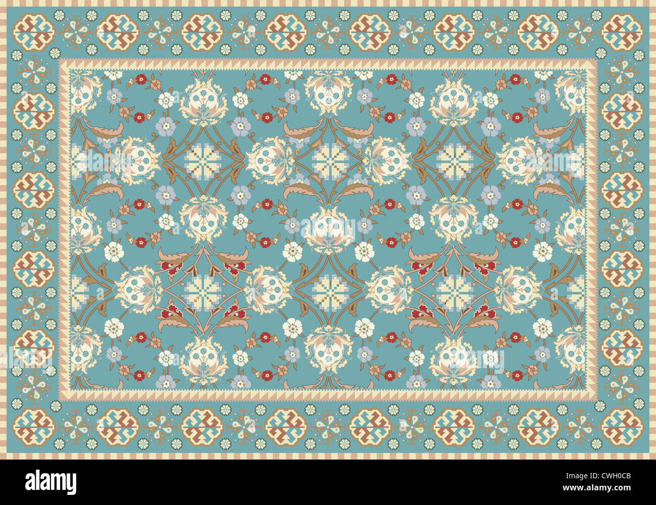 Floral Design Tapis Oriental Bleu Banque Dimages Photo Stock