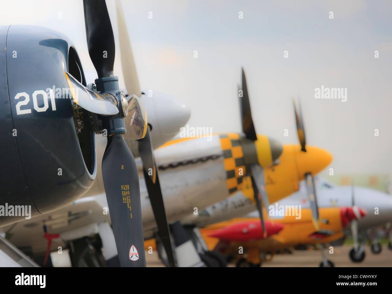 Les lames de l'hélice Vue de côté d'avions de ligne à Duxford Airshow Photo Stock