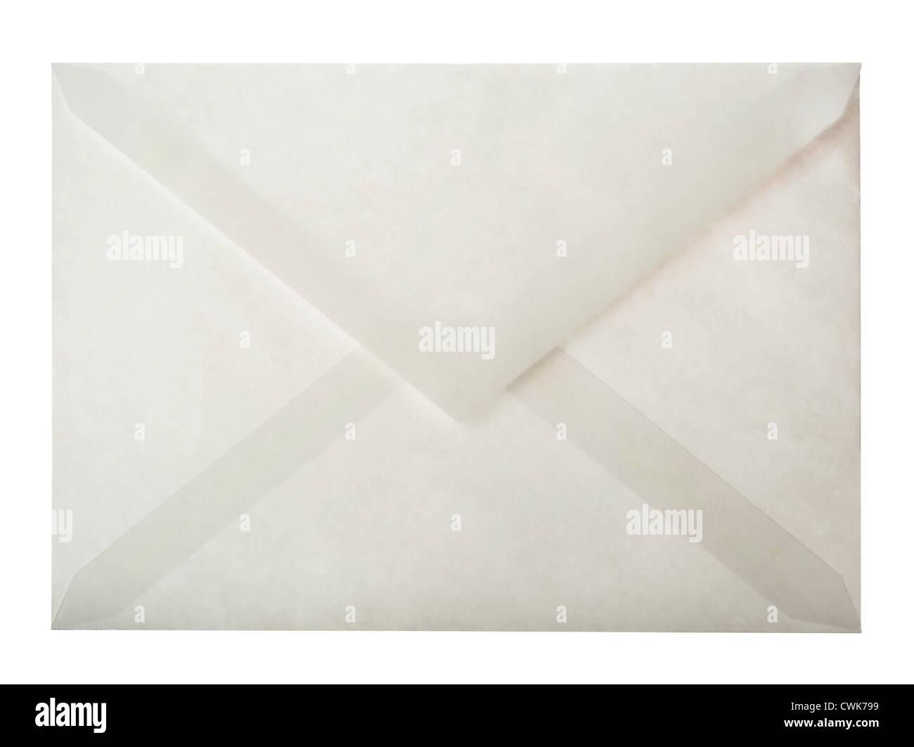 L'arrière de l'enveloppe de papier blanc isolated on white Photo Stock