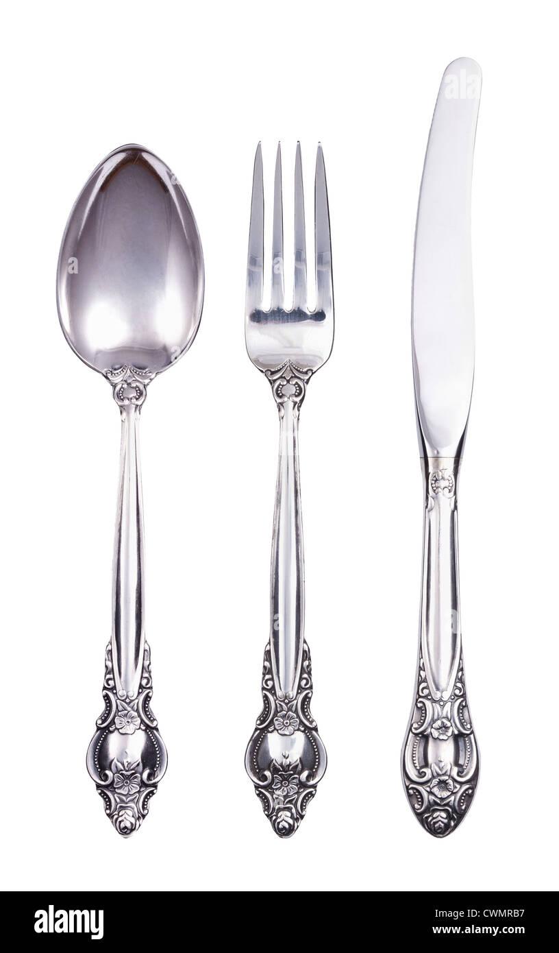 Ensemble de coutellerie rétro avec couteau fourchette et cuillère isolated on white Photo Stock