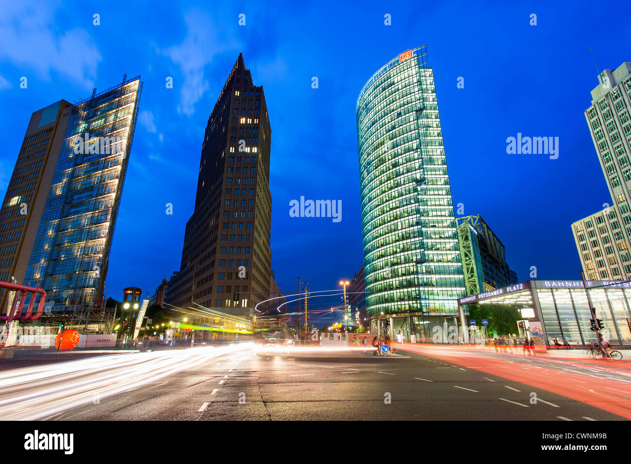 L'Europe, Allemagne, Berlin, Skyscrapers at Potsdamer Platz Photo Stock