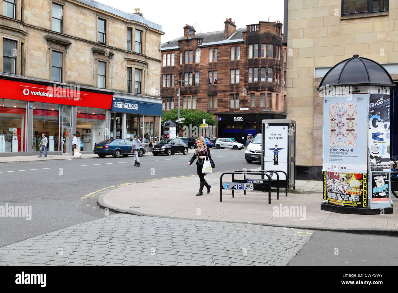 Byres Road dans le West End de Glasgow, Écosse, Royaume-Uni Photo Stock