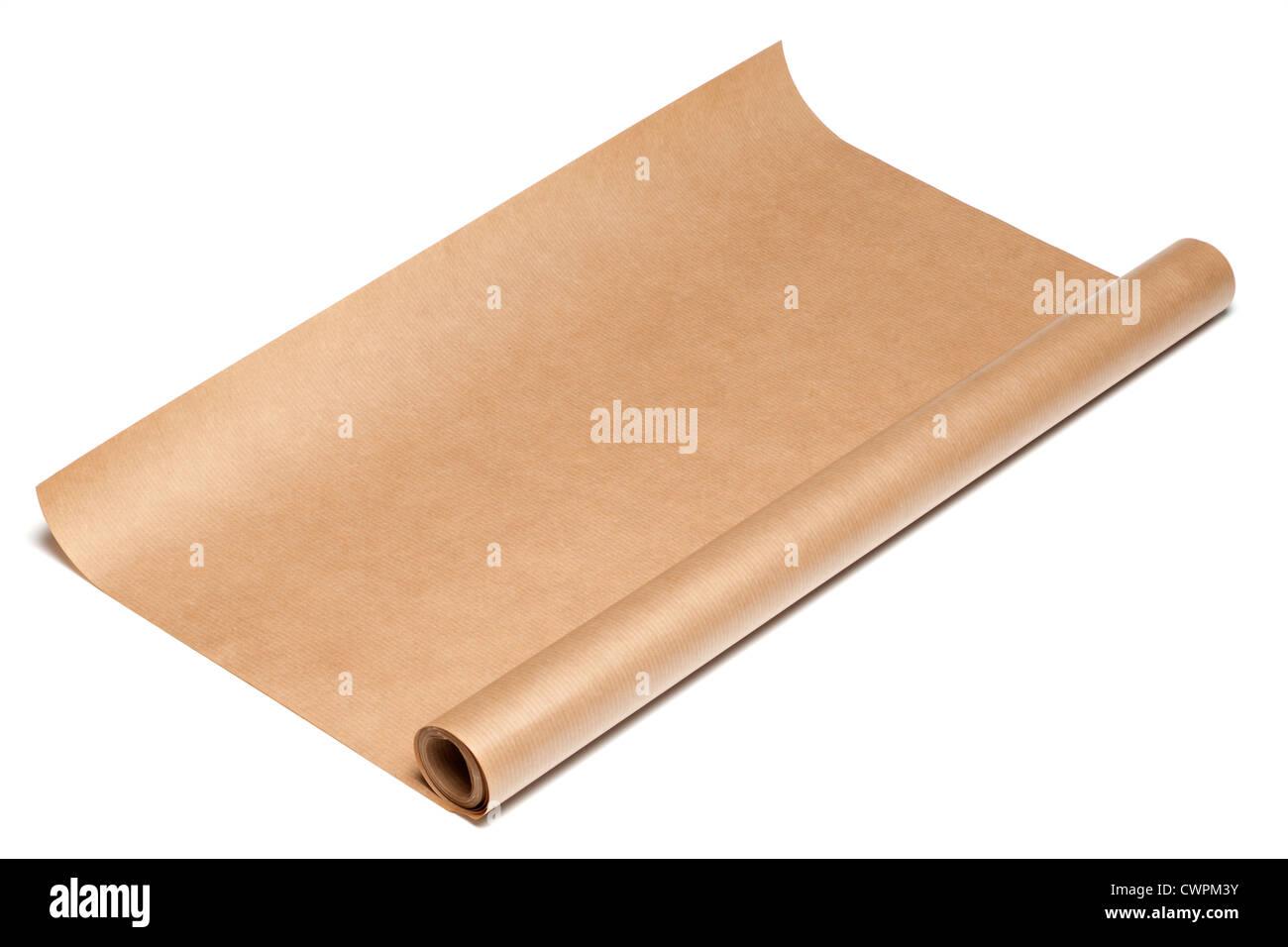 Rouleau de papier d'emballage de colis brun Photo Stock