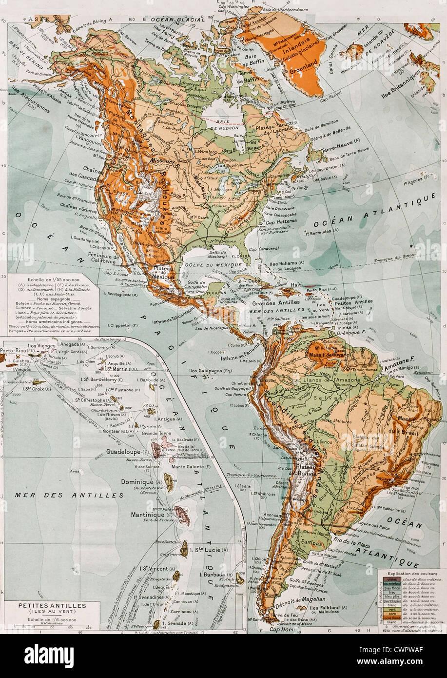 Carte Amerique Physique.Carte Physique De L Amerique Banque D Images Photo Stock