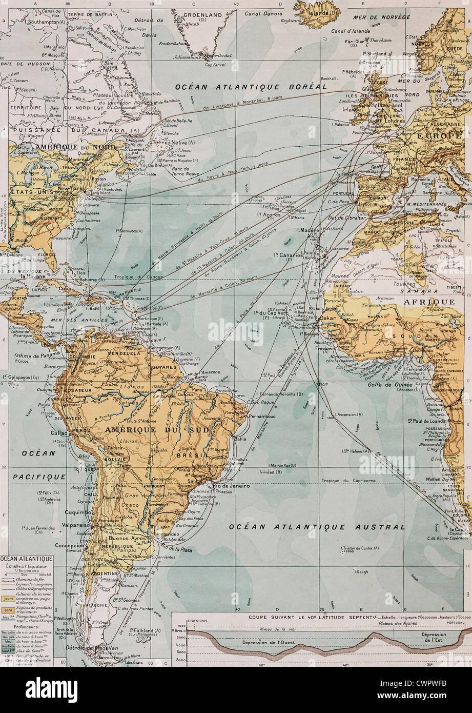 Océan Atlantique carte ancienne Banque D'Images