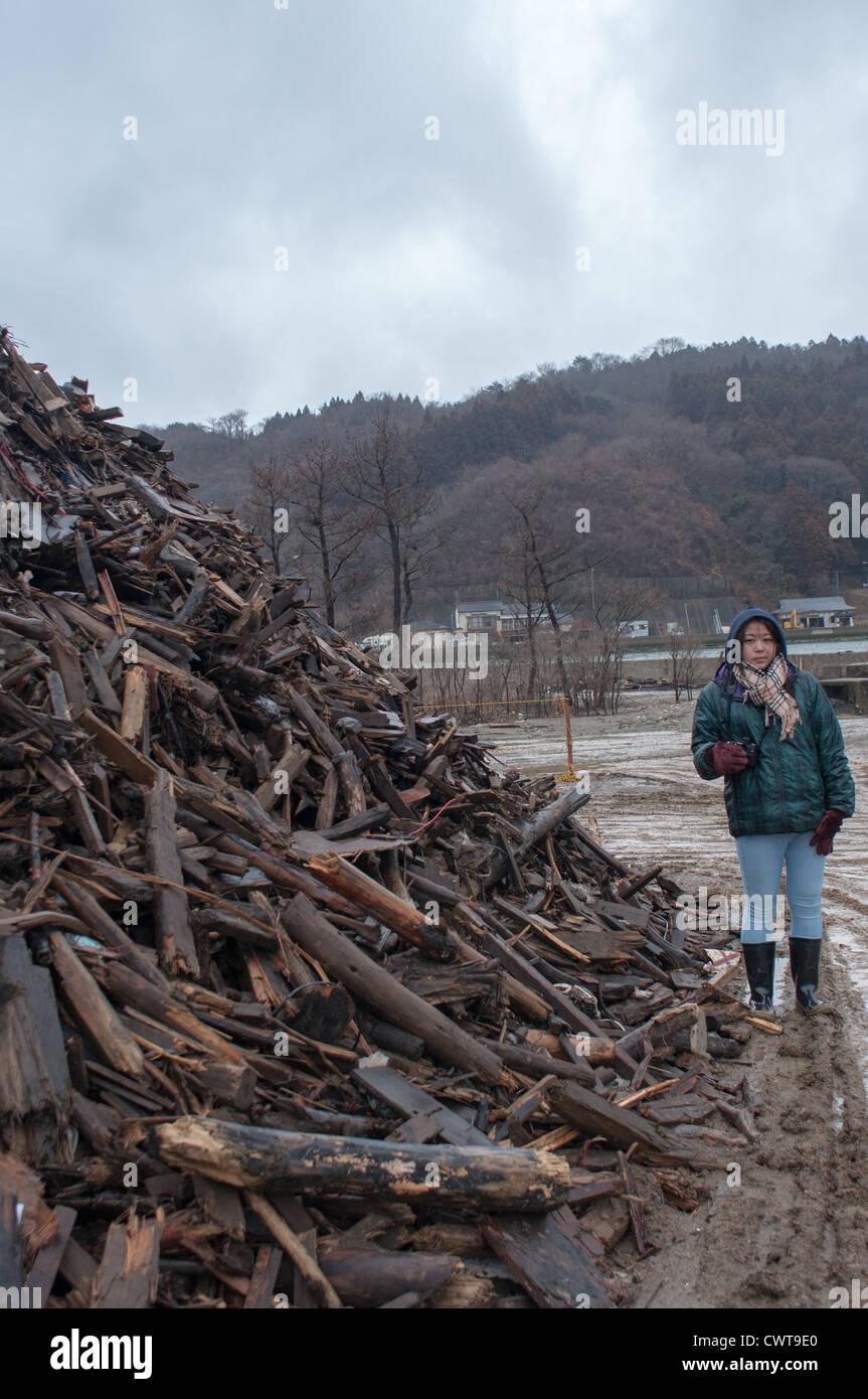 Ishinomaki, un an après le terrible tremblement de terre de Tohoku et tsunamis ruiné une grande partie Photo Stock