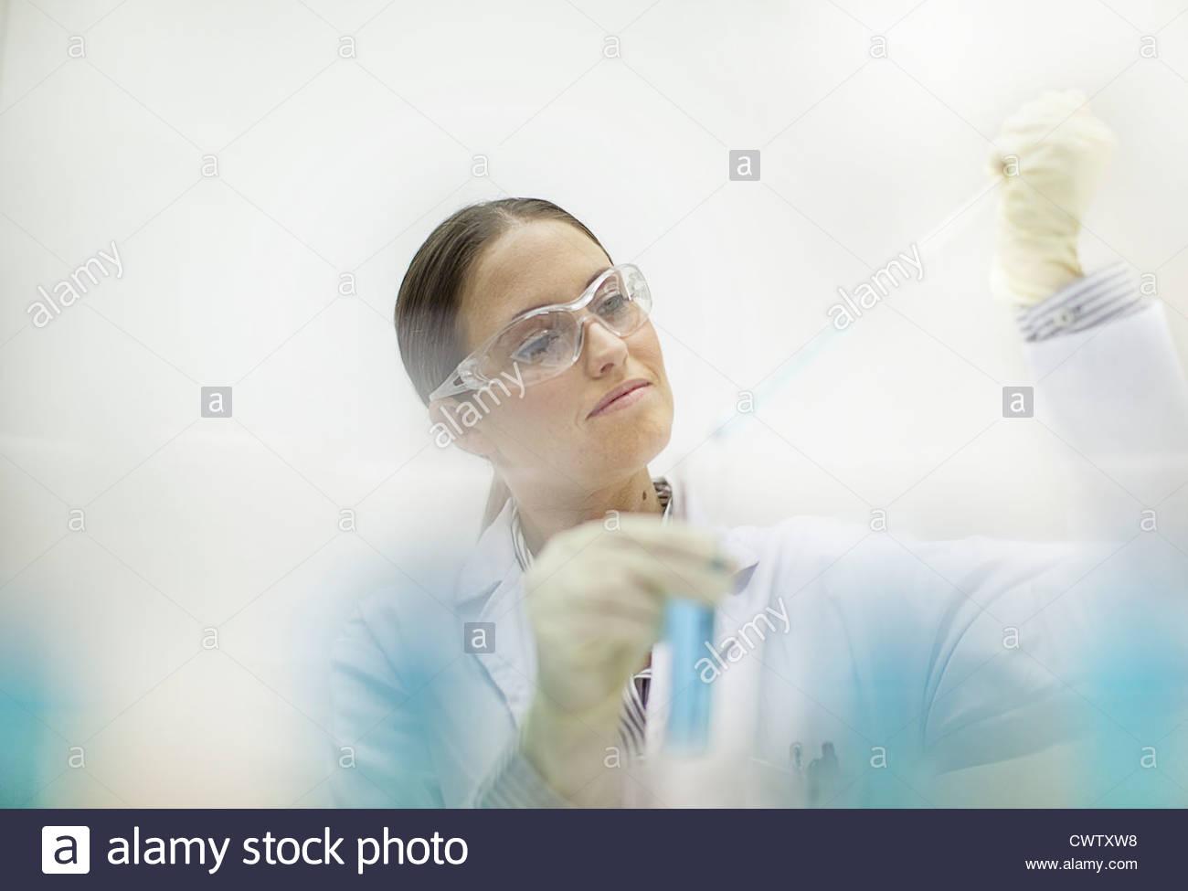 Scientist working in lab Photo Stock