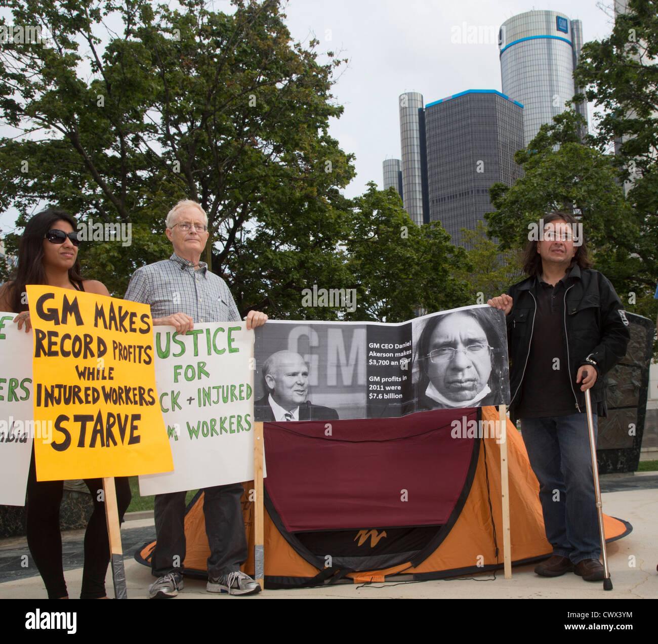 Les travailleurs colombiens blessés General Motors en grève de la faim à une indemnité d'invalidité Photo Stock