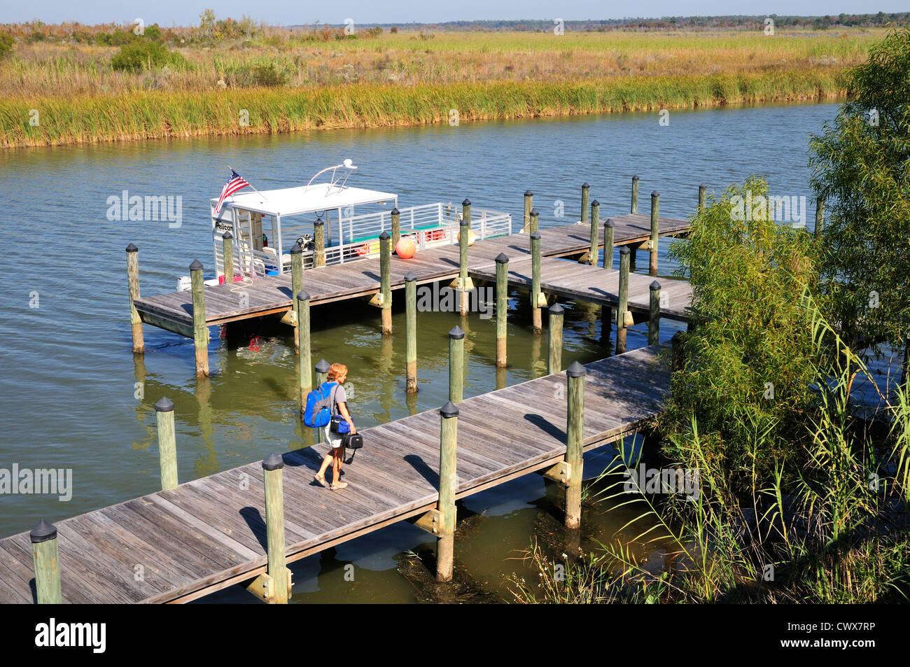 Bateau d'excursion 'Pelican' au quai derrière le centre de ressources du delta des rivières Photo Stock