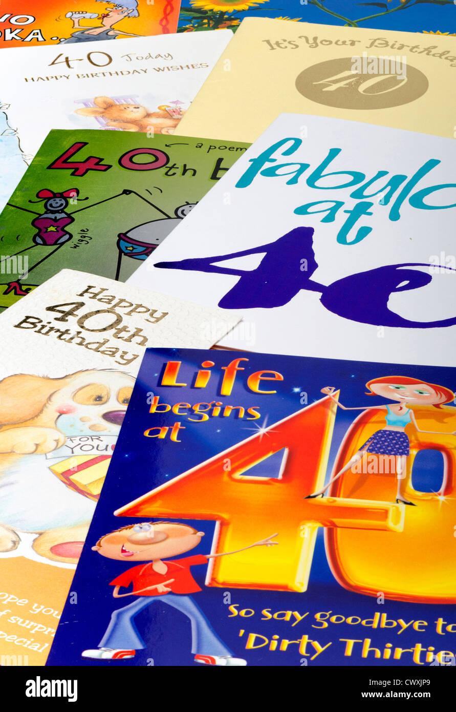 Cartes d'anniversaire 40E Photo Stock