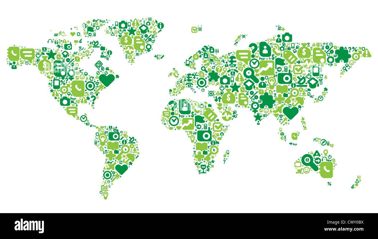 Carte du monde concept. 100 icons set dans le vert. Photo Stock