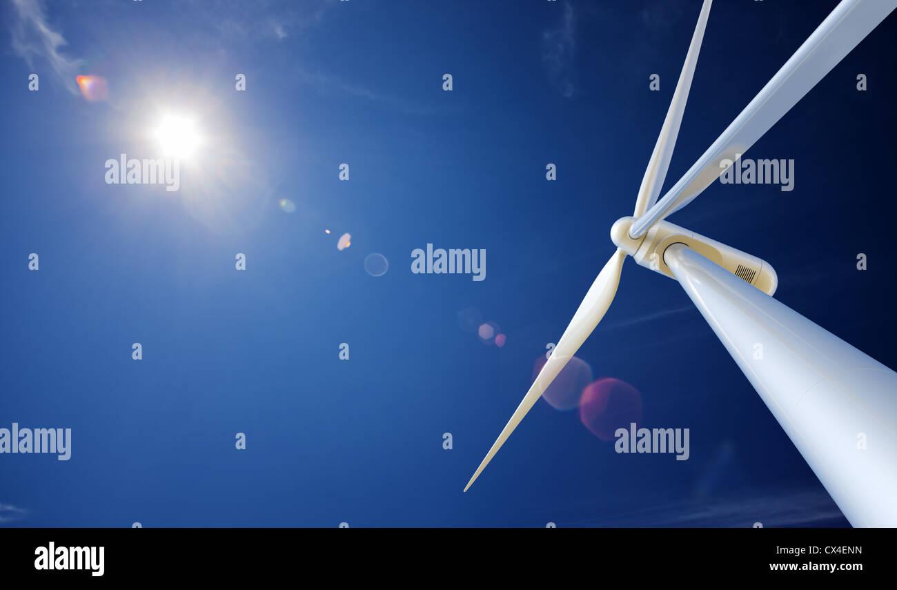 Wind turbine par en dessous avec la création de lens flare (Rendu 3D) Photo Stock