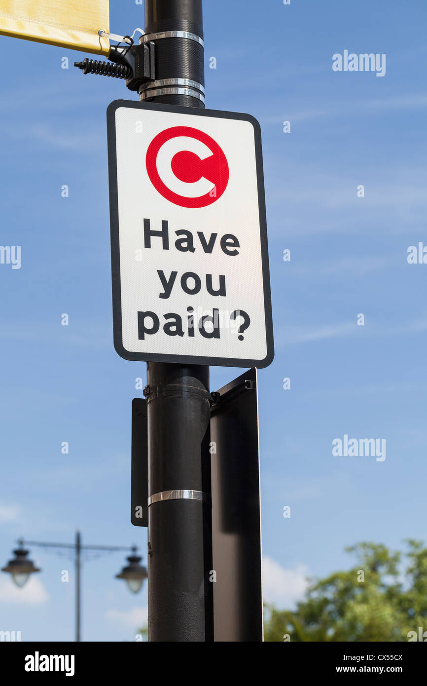 Congestion charge signe, Londres, Angleterre Photo Stock