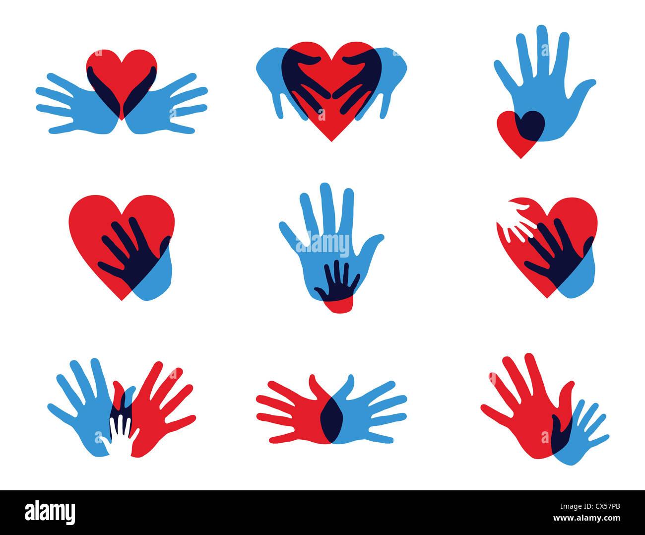Multicolor diversité créative mains icon set. Couches d'illustration vectorielle pour une manipulation Photo Stock