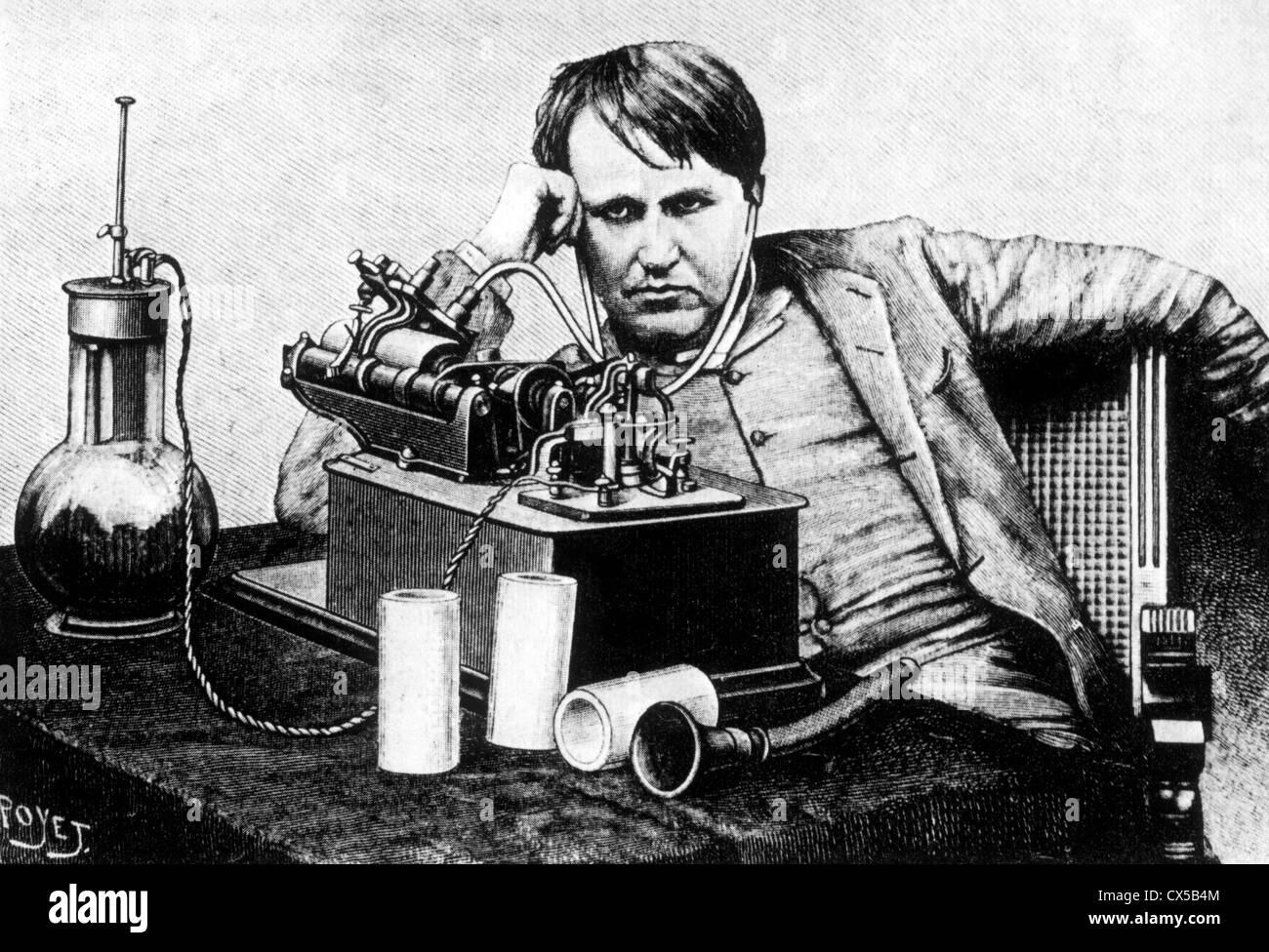 Thomas A. Edison avec Phonographe, gravure, circa 1888 Photo Stock