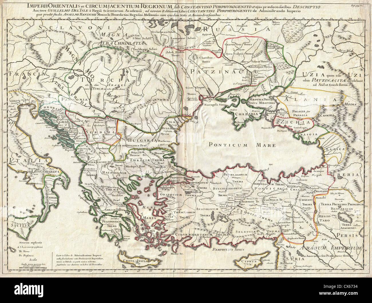 1715 DE L'Isle Carte de l'Empire romain sous Constantin (Asie mineure, de la mer Noire, Balkans) Photo Stock
