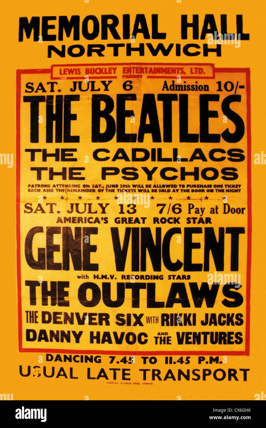 000006 - Les Beatles Northwich 1963 Concert Poster Photo Stock