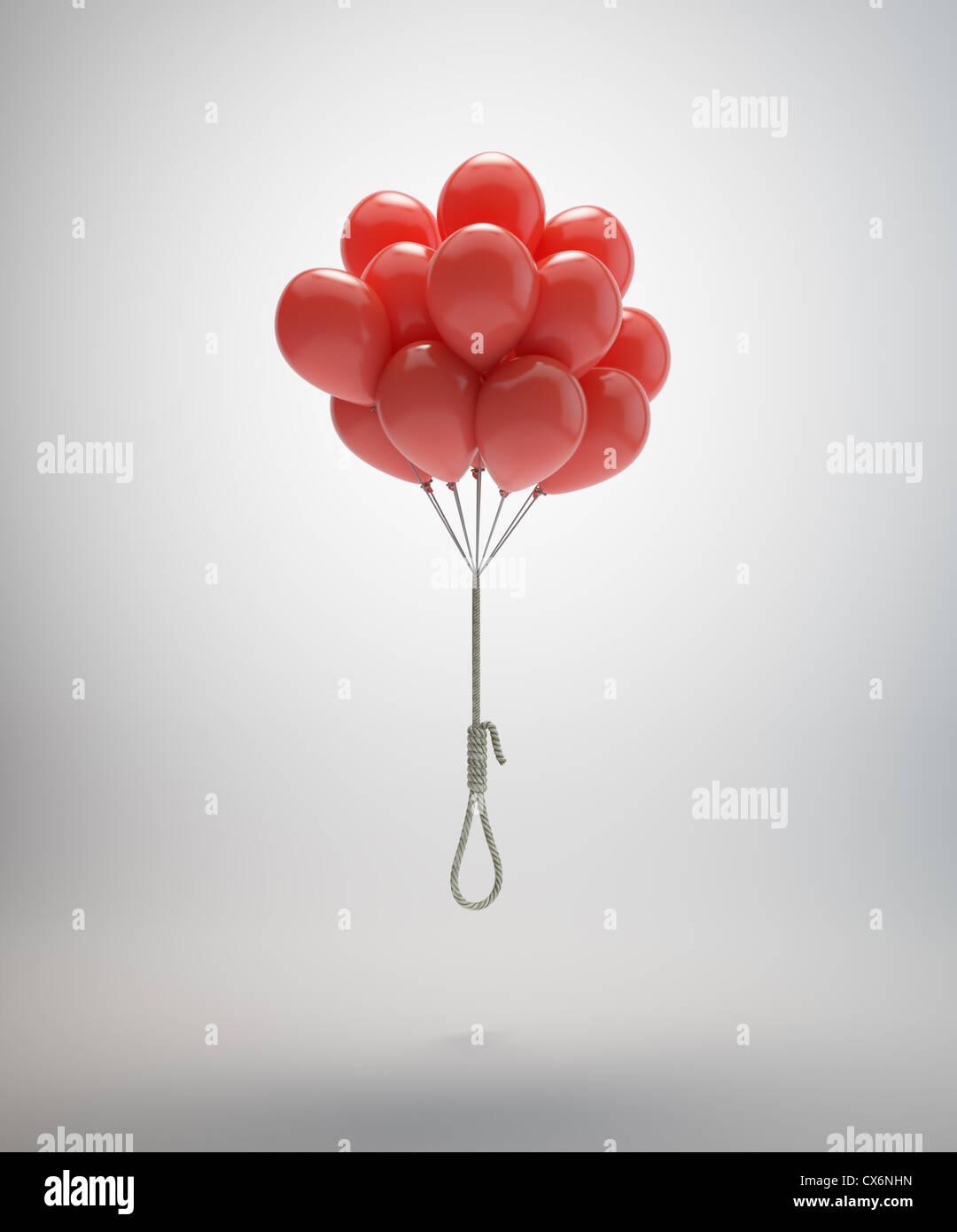 Potence suspendue par un tas de ballons rouges Banque D'Images