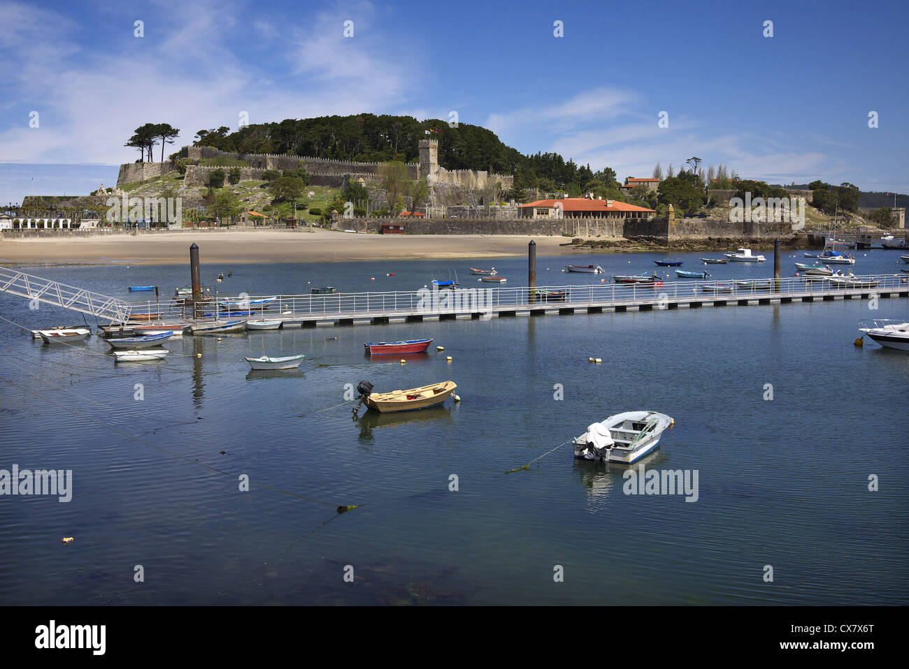 L'Castilo de Montrreal à Baiona en Galice, Espagne. Photo Stock
