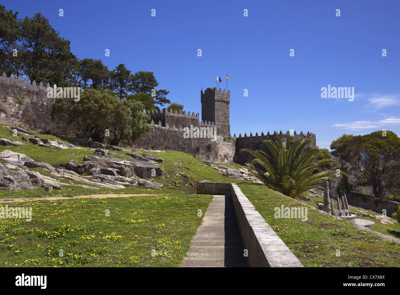 Le Castelo de Monterreal à Baiona en Galice, Espagne. Photo Stock