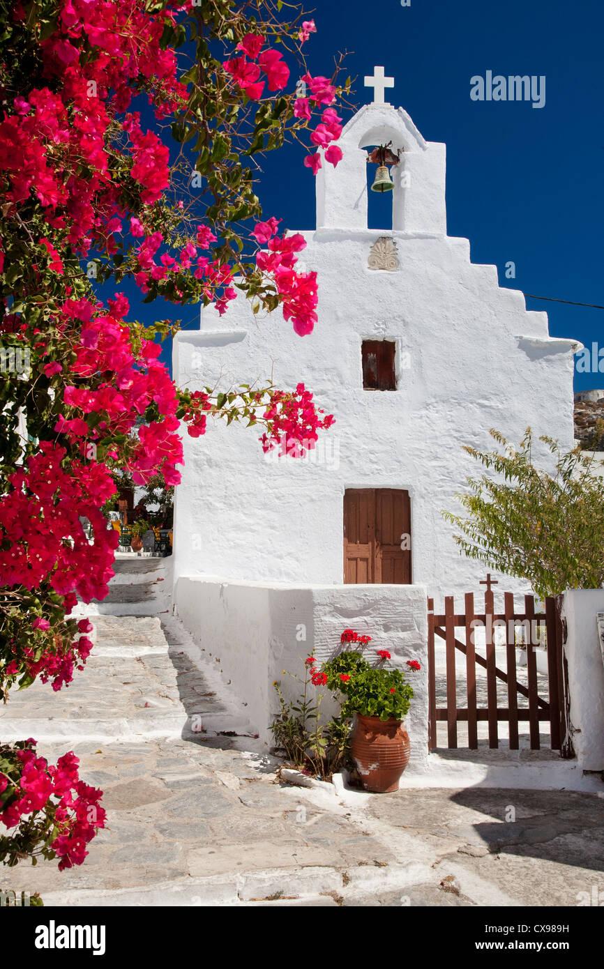 Chapelle à Chora town sur l'île d'Amorgos en Grèce Photo Stock