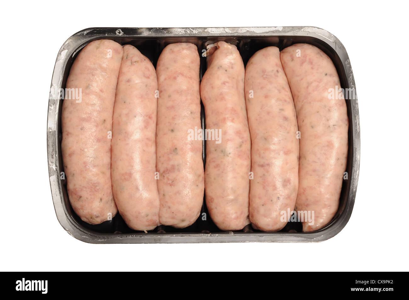 Les saucisses dans l'emballage Photo Stock