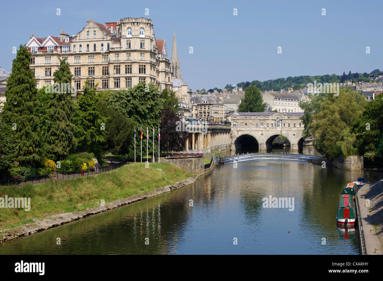 Pulteney Bridge et la rivière Avon, baignoire, UNESCO World Heritage Site, Avon, Angleterre, Royaume-Uni, Europe Photo Stock