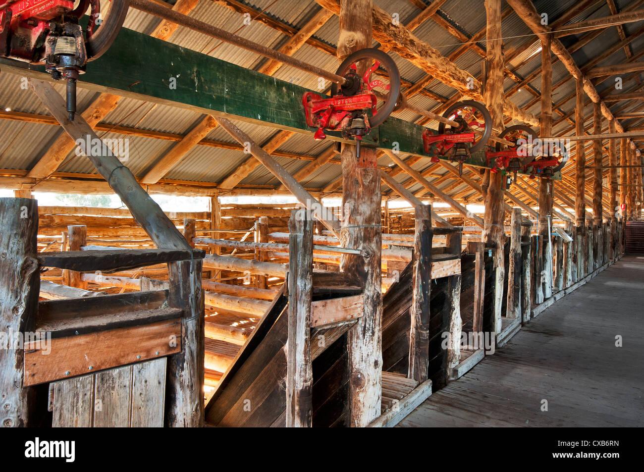 Ancien hangar de laine historique dans le parc national de Mungo. Banque D'Images