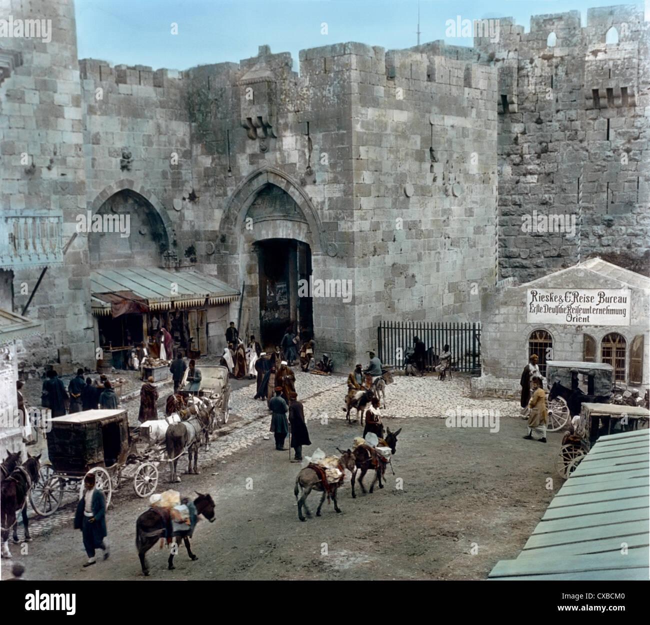 La porte de Jaffa, Jérusalem, Palestine 1920 Banque D'Images