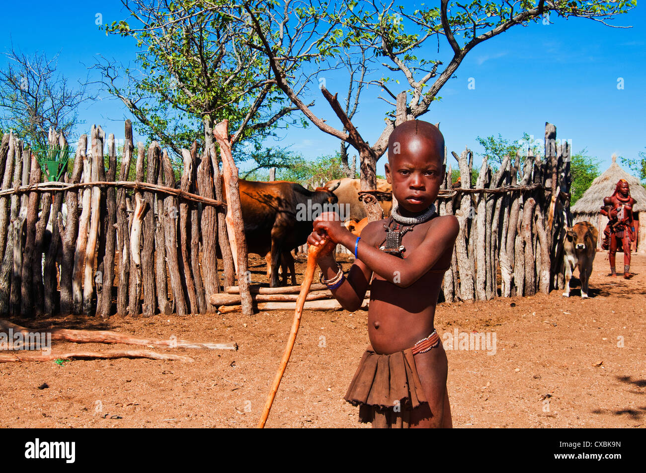 Garçon Himba, Kaokoveld, Namibie, Afrique Banque D'Images