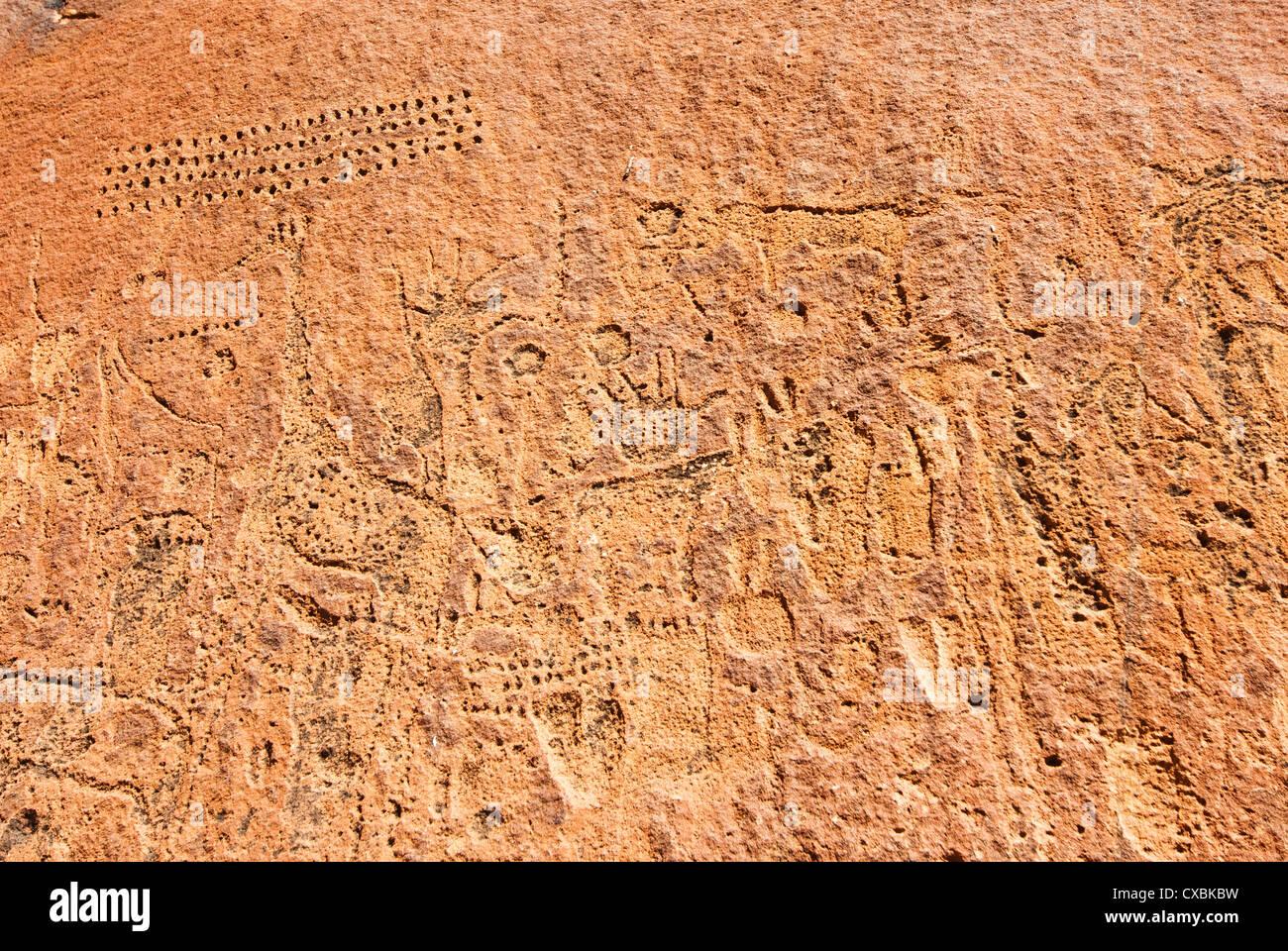 Gravures près de Twyfelfontein Lodge, Twyfelfontein, Damaraland, région de Kunene, Namibie, Afrique Banque D'Images