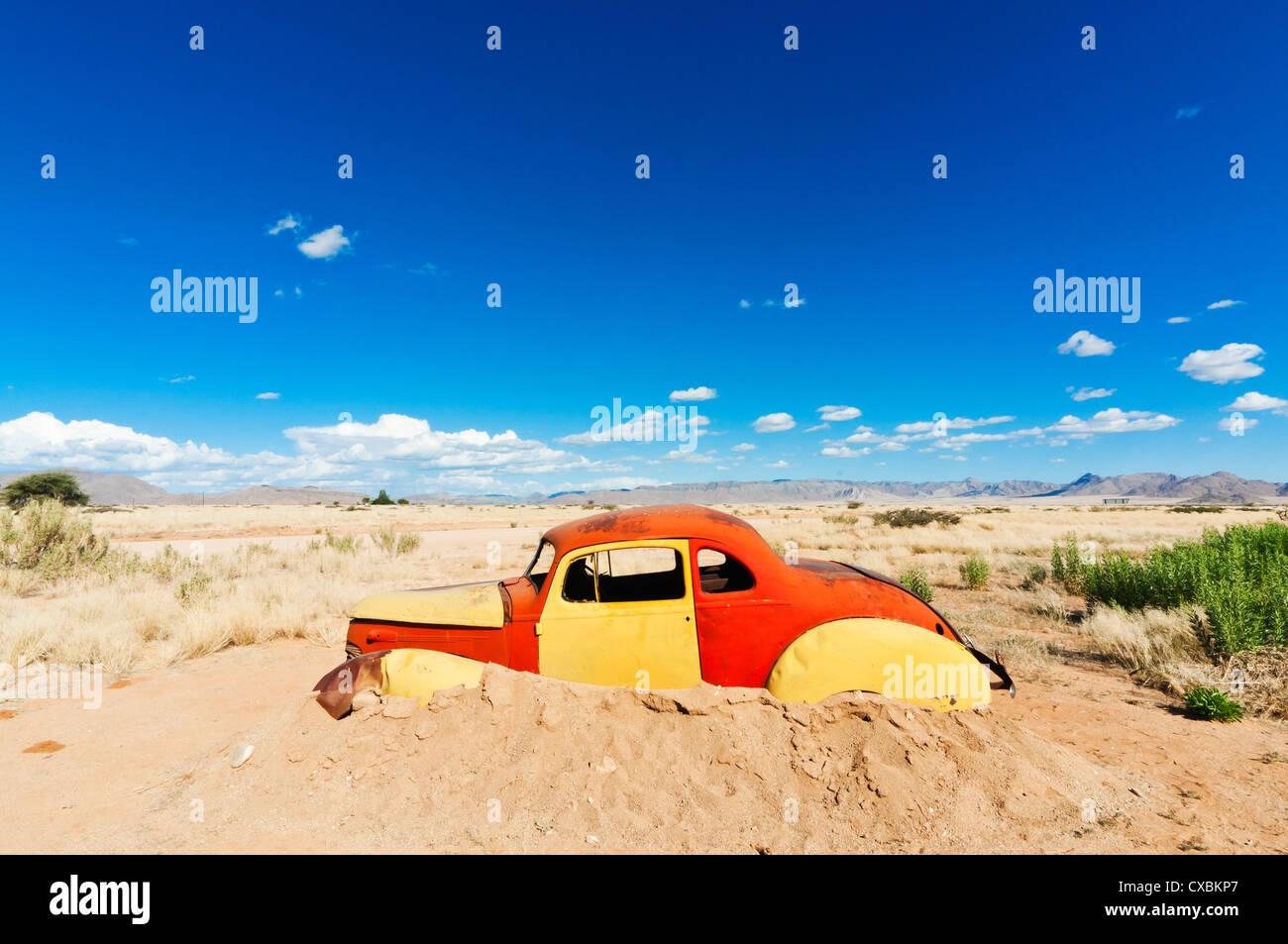 Voiture abandonnée, Solitaire, Village, près de la région Khomas Namib-Naukluft National Park, Namibie, Photo Stock