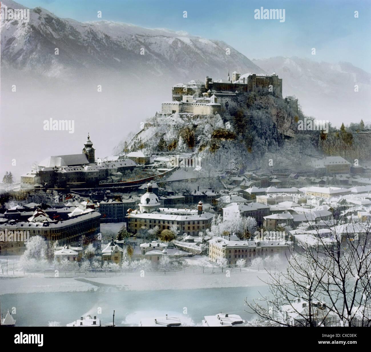 Salzbourg, Autriche en hiver, 1907 Banque D'Images