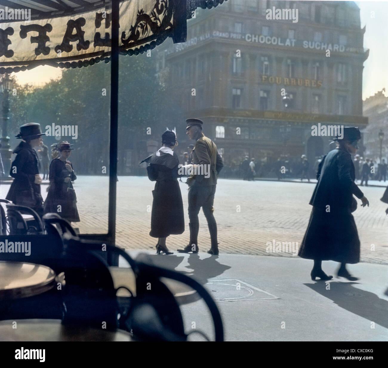 Le dernier au revoir, Café de la paix, Paris, 1918 Photo Stock