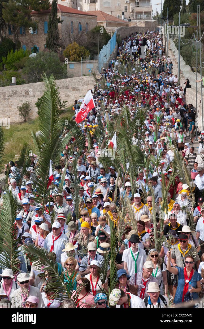 La procession des Rameaux de Betphage à Sainte Anne dans la vieille ville à travers le Mont des Oliviers, Photo Stock