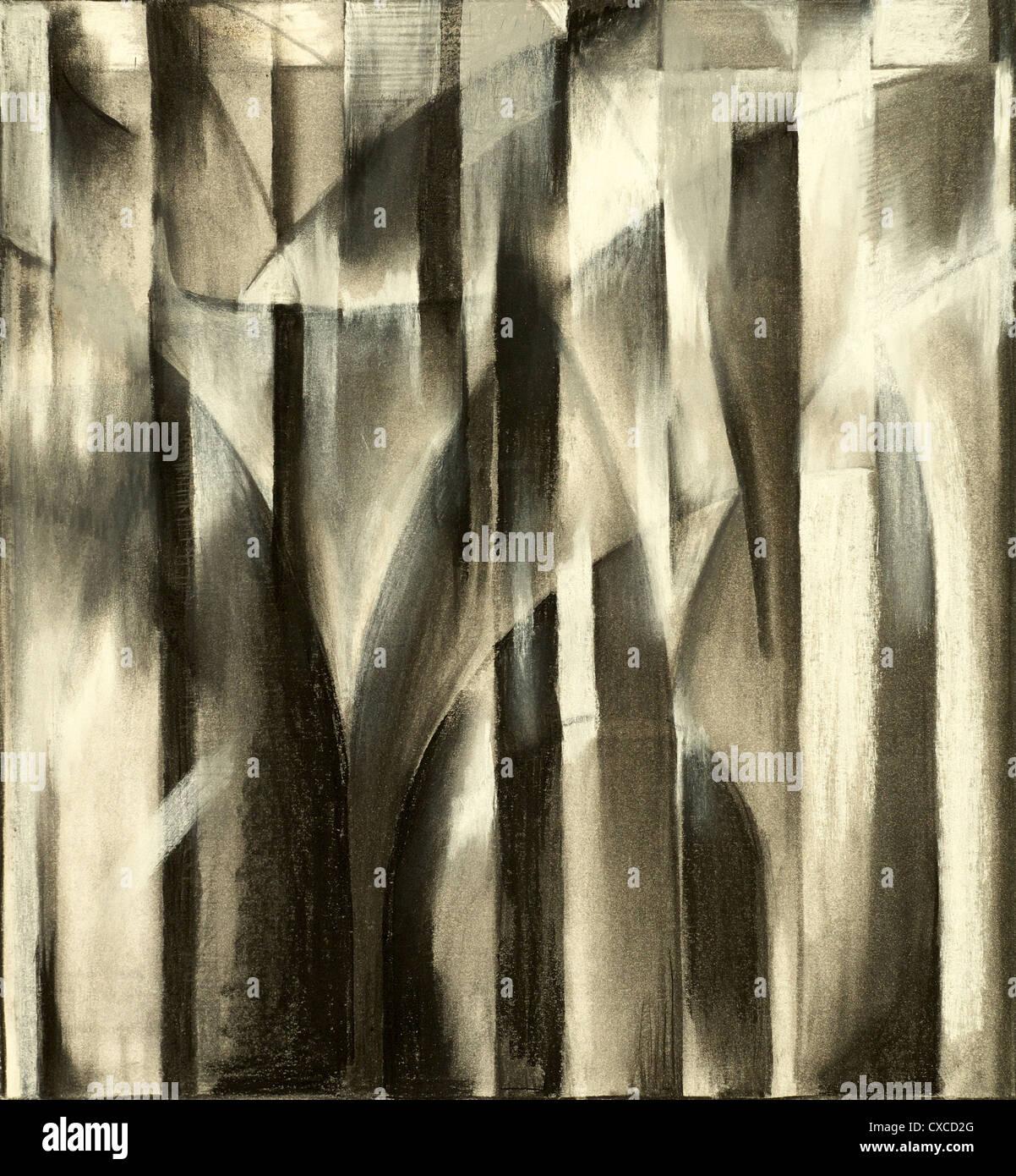 Une étude de charbon pour une peinture abstraite Photo Stock