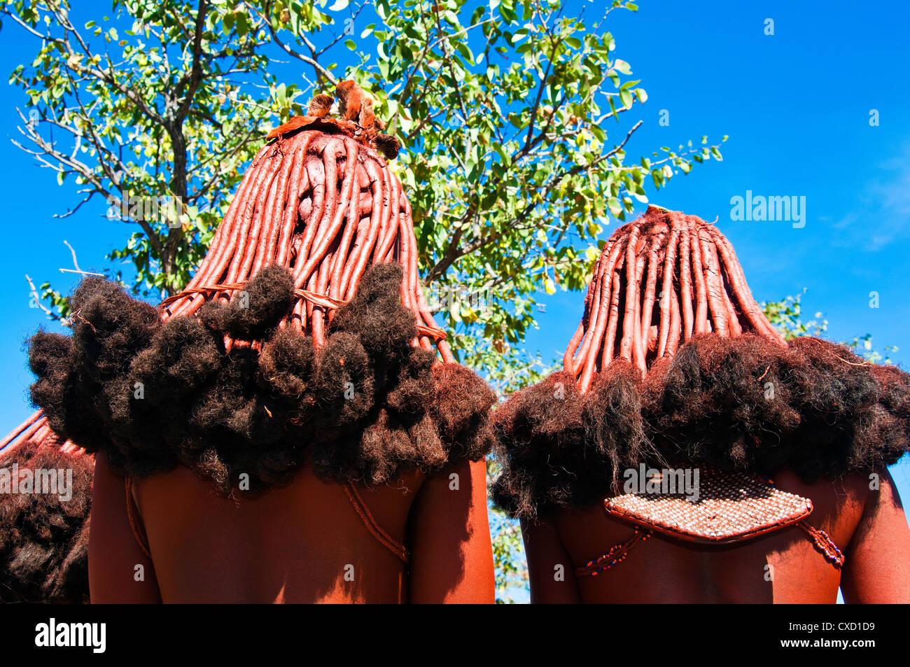 Coiffure de femme Himba, Kaokoveld, Namibie, Afrique du Sud Banque D'Images