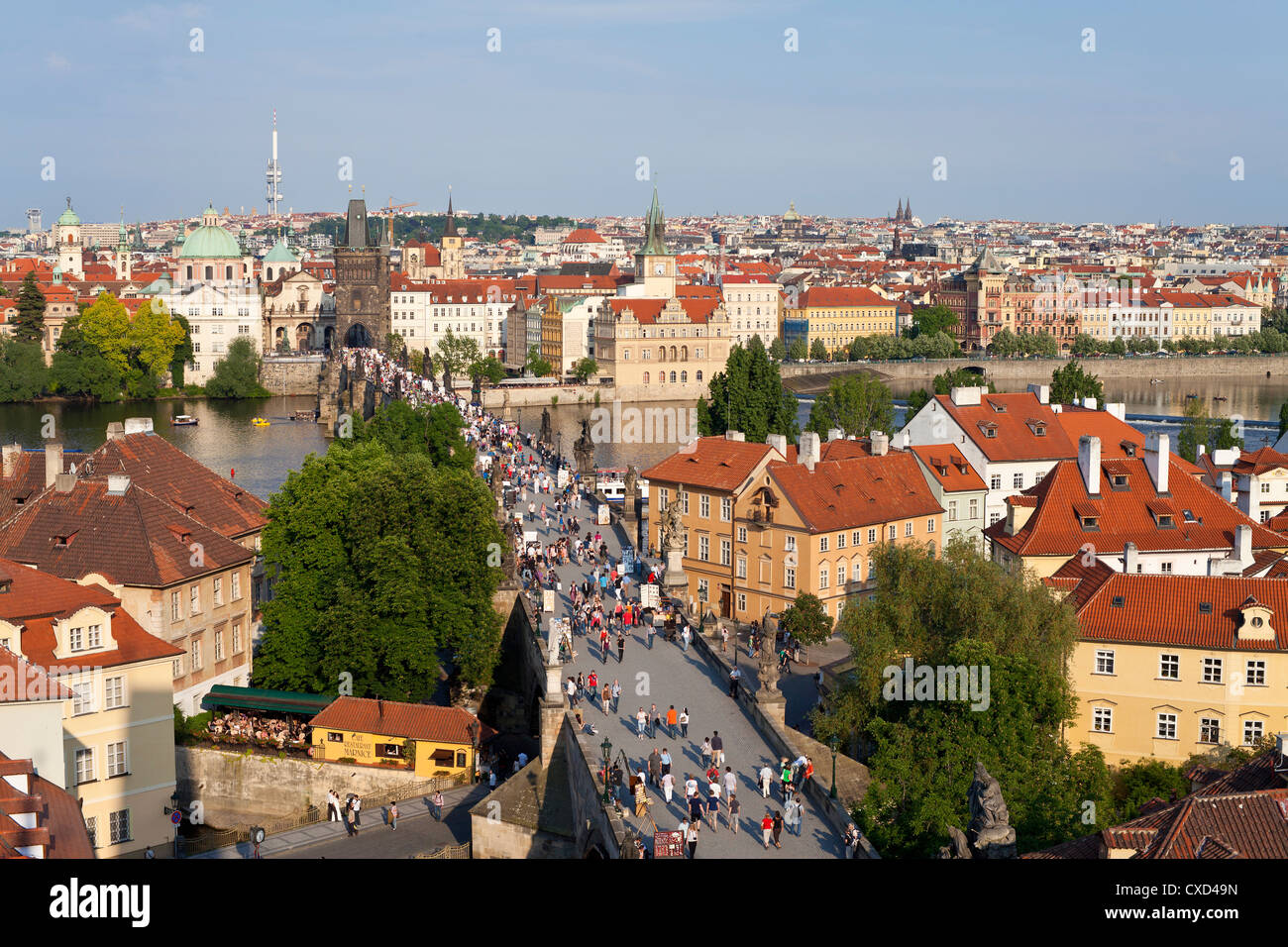 Le Pont Charles, Site du patrimoine mondial de l'UNESCO, Prague, République Tchèque, Europe Photo Stock