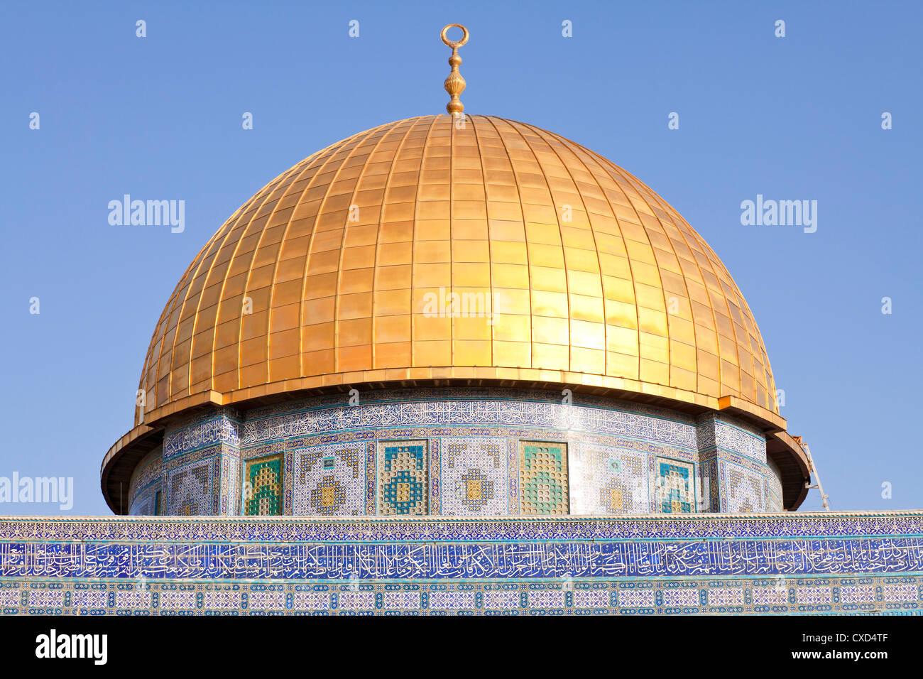 Dôme du Rocher, sur le mont du Temple, Vieille Ville, site du patrimoine mondial de l'UNESCO, Jérusalem, Israël, Banque D'Images
