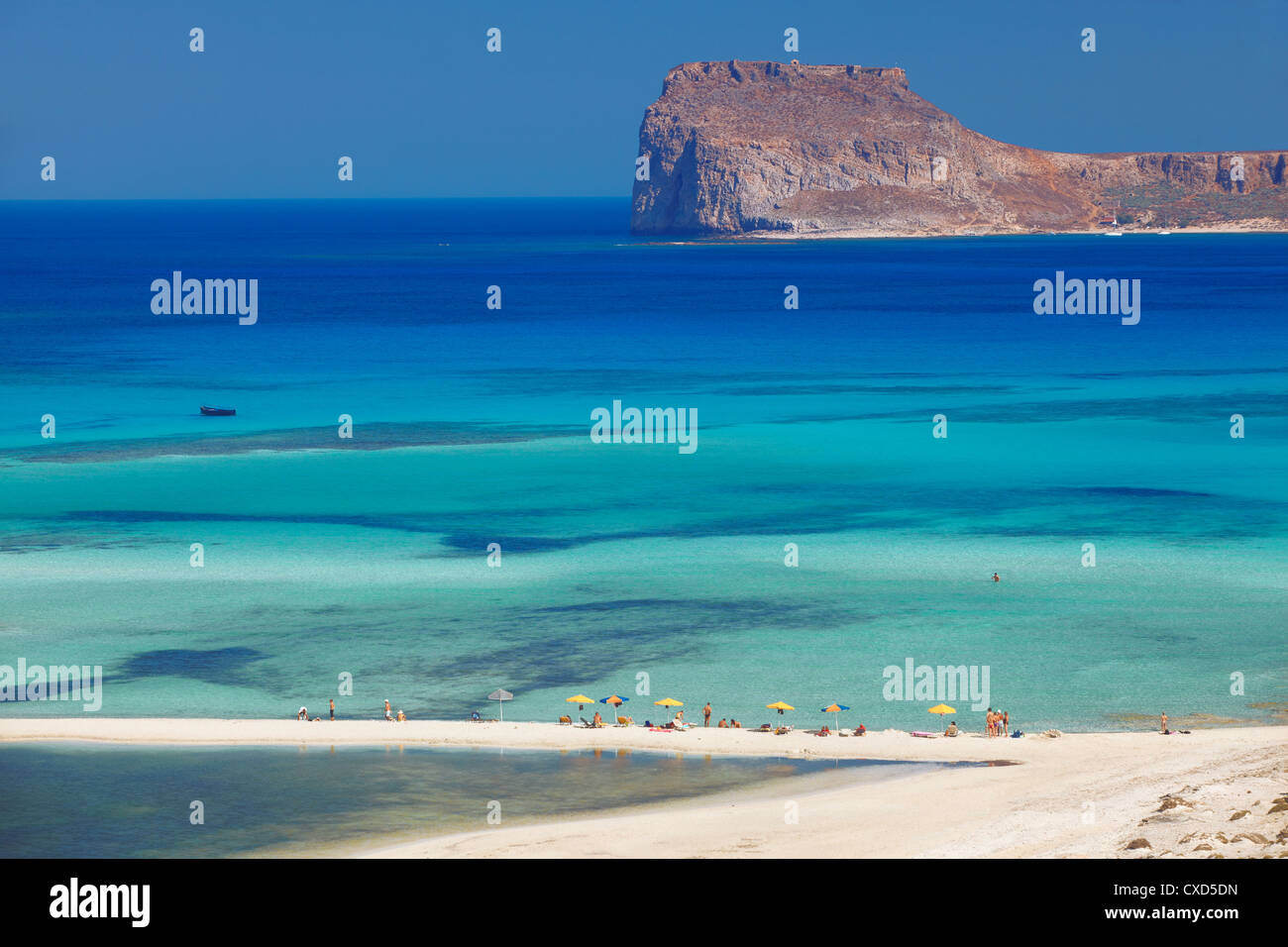 La baie de Balos et Gramvousa, Chania, Crète, îles grecques, Grèce, Europe Photo Stock