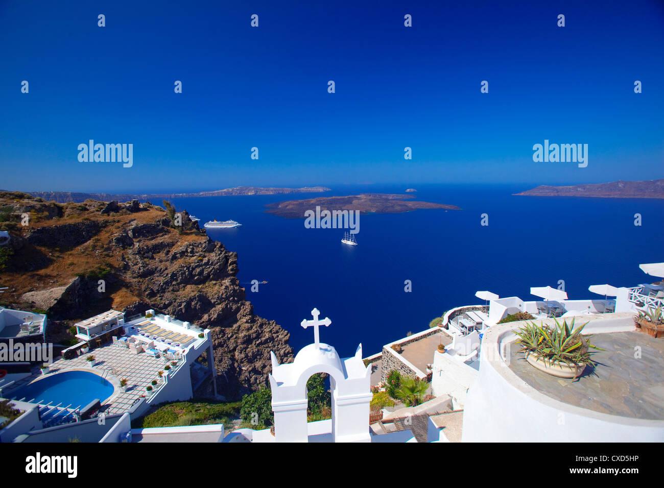 Vue de la caldeira de Fira, Santorini, Cyclades, îles grecques, Grèce, Europe Photo Stock