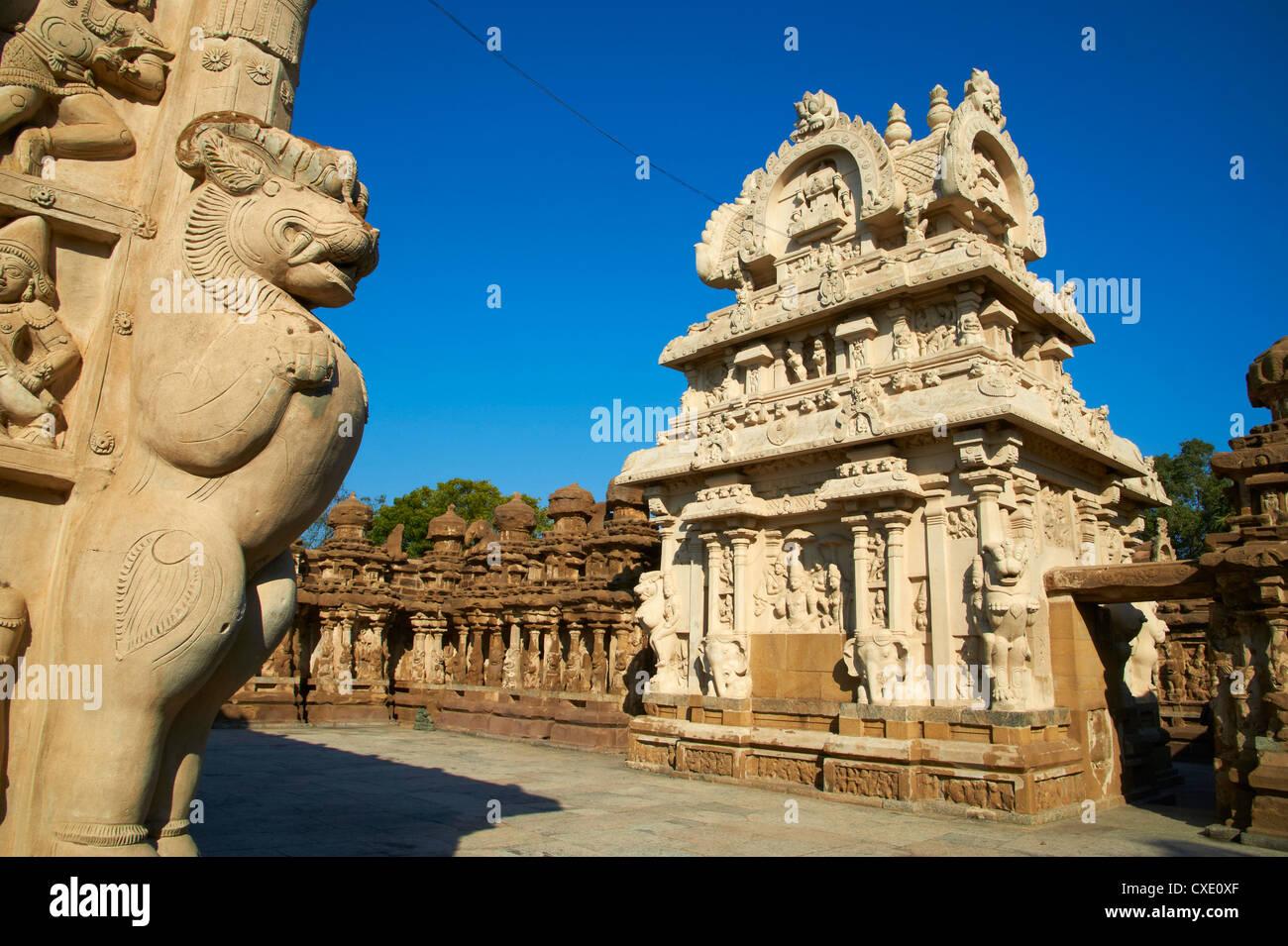 Temple Kailasanatha datant du 8e siècle, Kanchipuram, Tamil Nadu, Inde, Asie Banque D'Images
