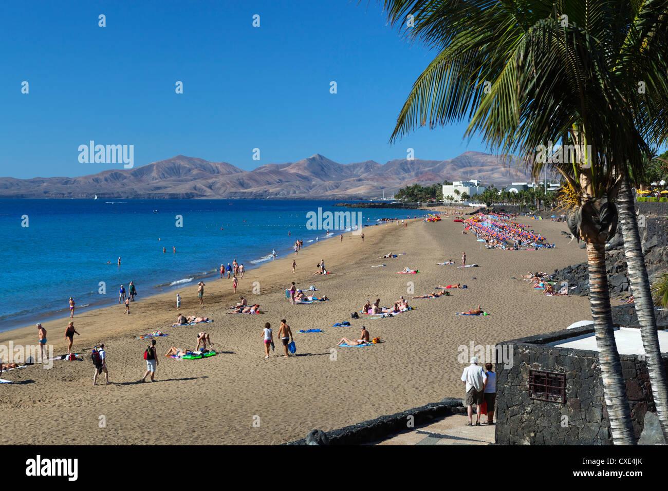 Playa Grande, Puerto del Carmen, Lanzarote, îles Canaries, Espagne Banque D'Images