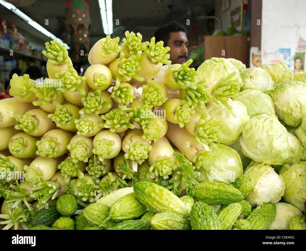 Les fruits et légumes, marché, Chinatown, Singapour, Asie Photo Stock