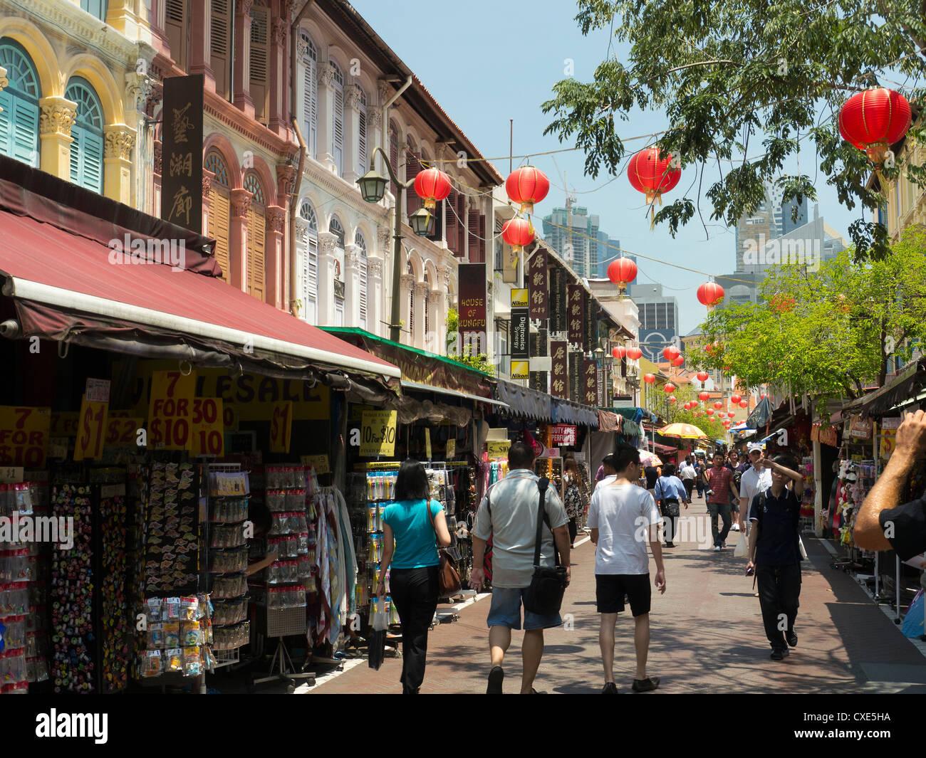Lanternes chinoises, de la rue du marché, Chinatown, Singapour, Asie Photo Stock