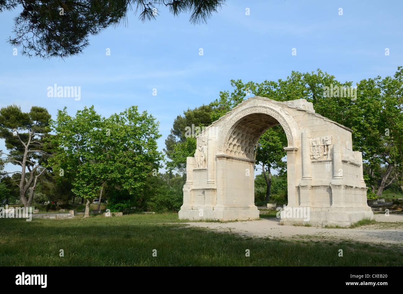De triomphe romain Les Antiques à Glanum près de Saint-Rémy-de-Provence Provence France Photo Stock
