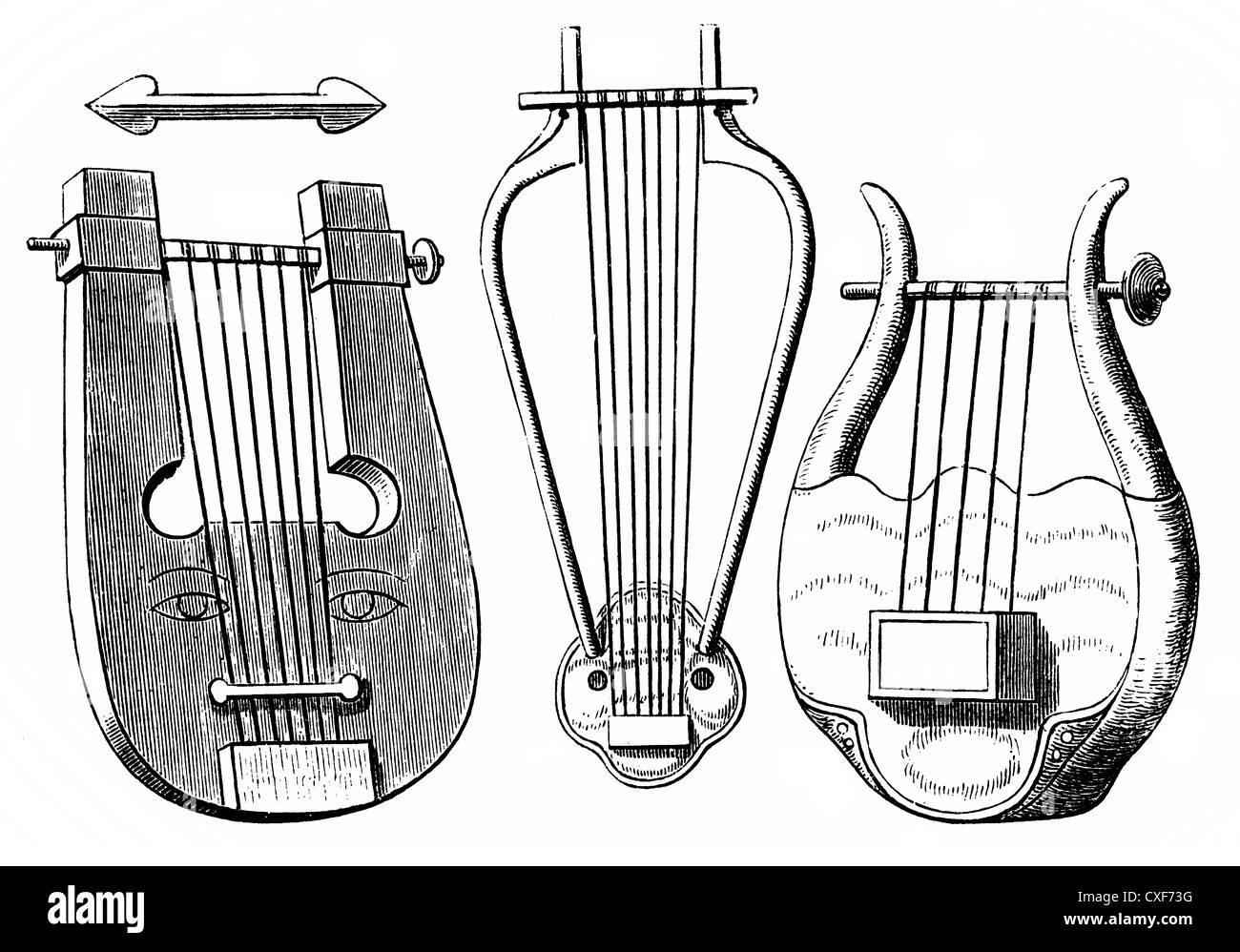 Instruments à cordes ou cordophones grecque de l'antiquité, lyre, psaltérion ou lyre et chelys, Photo Stock
