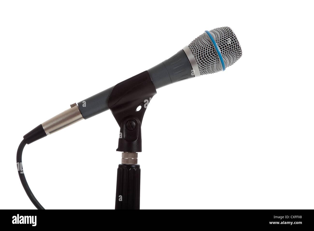 Microphone sur un fond blanc Photo Stock